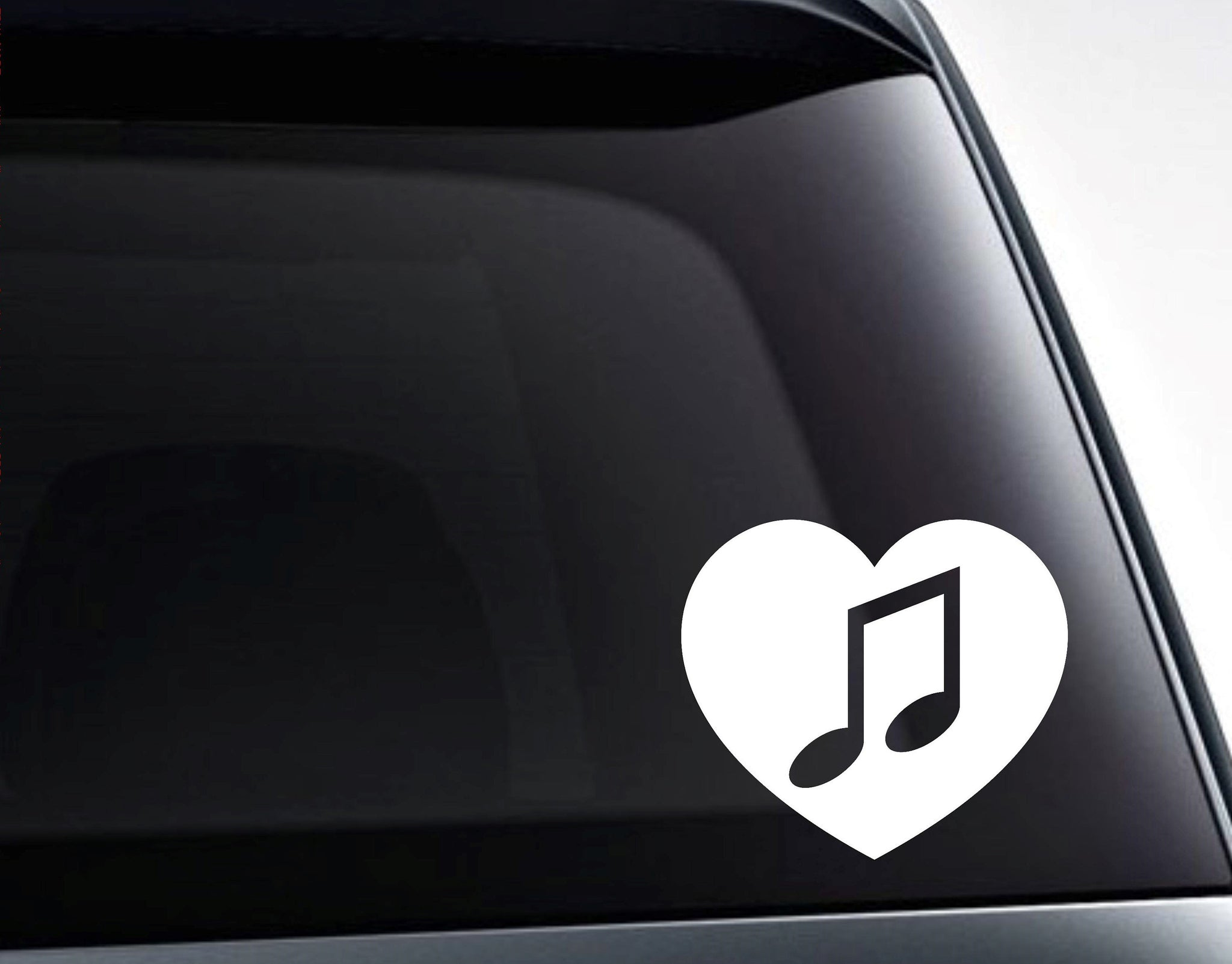 Musical Note in a Heart Vinyl Decal Sticker