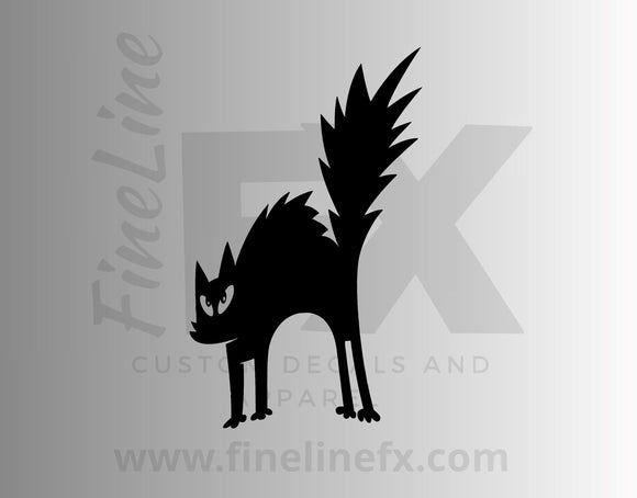Halloween Scared Black Cat Vinyl Decal Sticker - FineLineFX