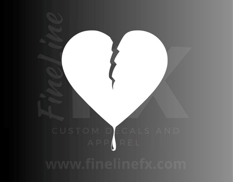 Broken Bleeding Heart Vinyl Decal Sticker