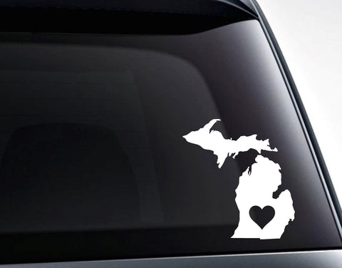 Michigan With A Heart Vinyl Decal Sticker