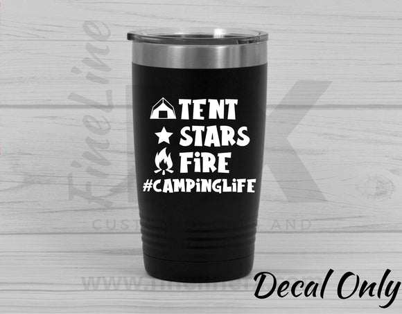 Tent Stars Fire - Camping Life Vinyl Decal Sticker - FineLineFX