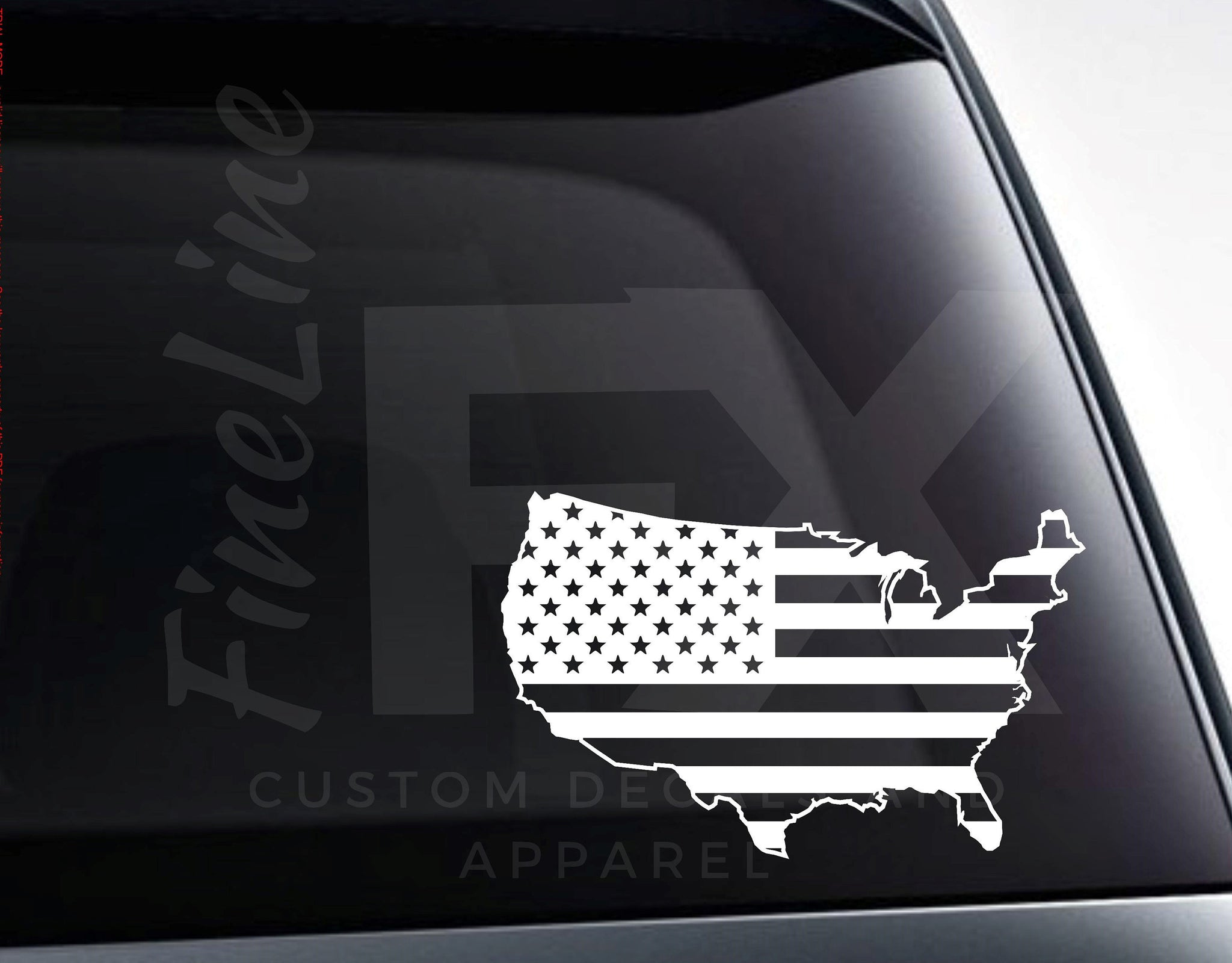 USA United States Shaped American Flag Die Cut Vinyl Decal Sticker