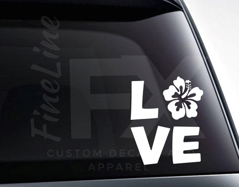 Hibiscus Tropical Flower Love Vinyl Decal Sticker