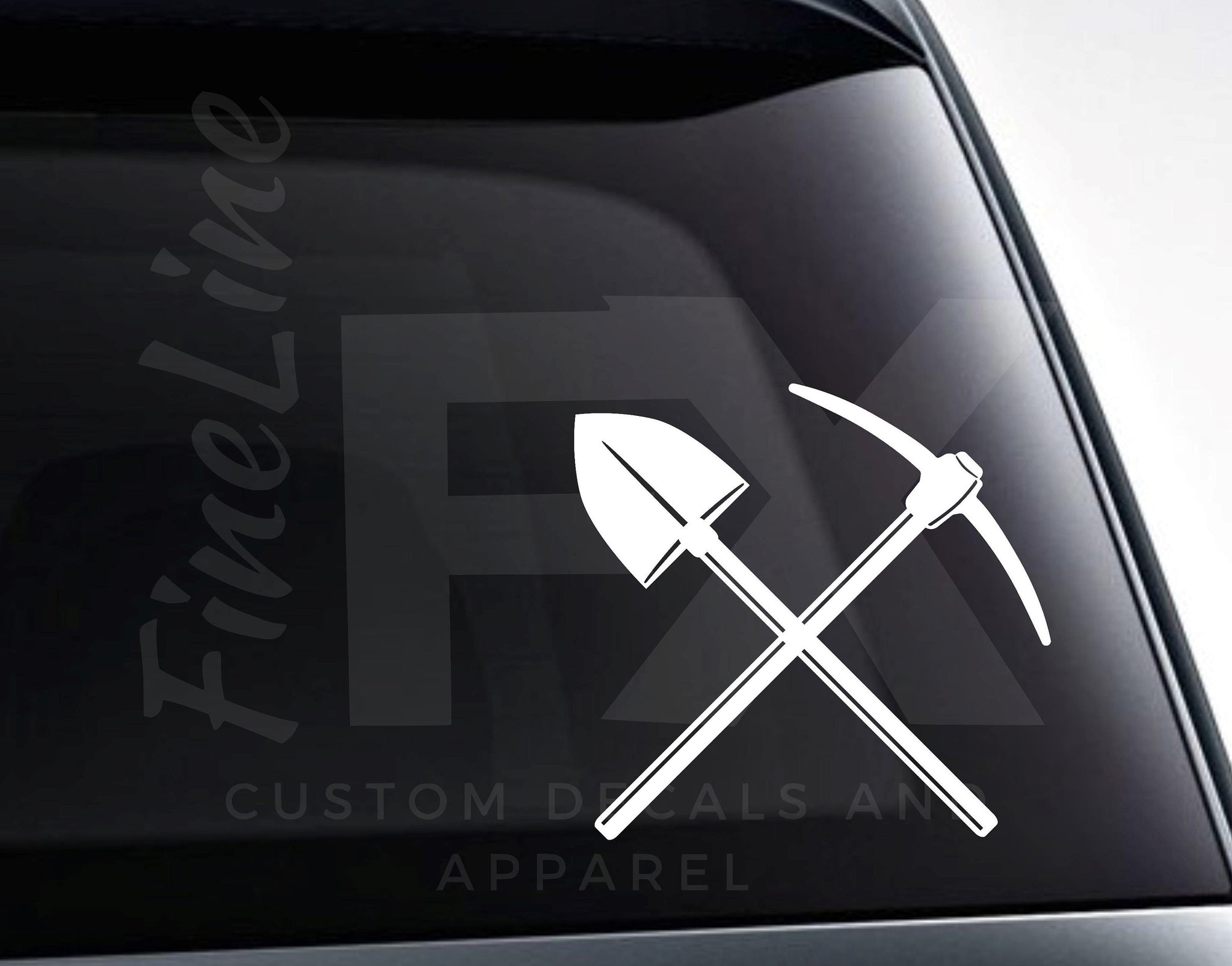 Miner Pick Axe And Shovel Vinyl Decal Sticker