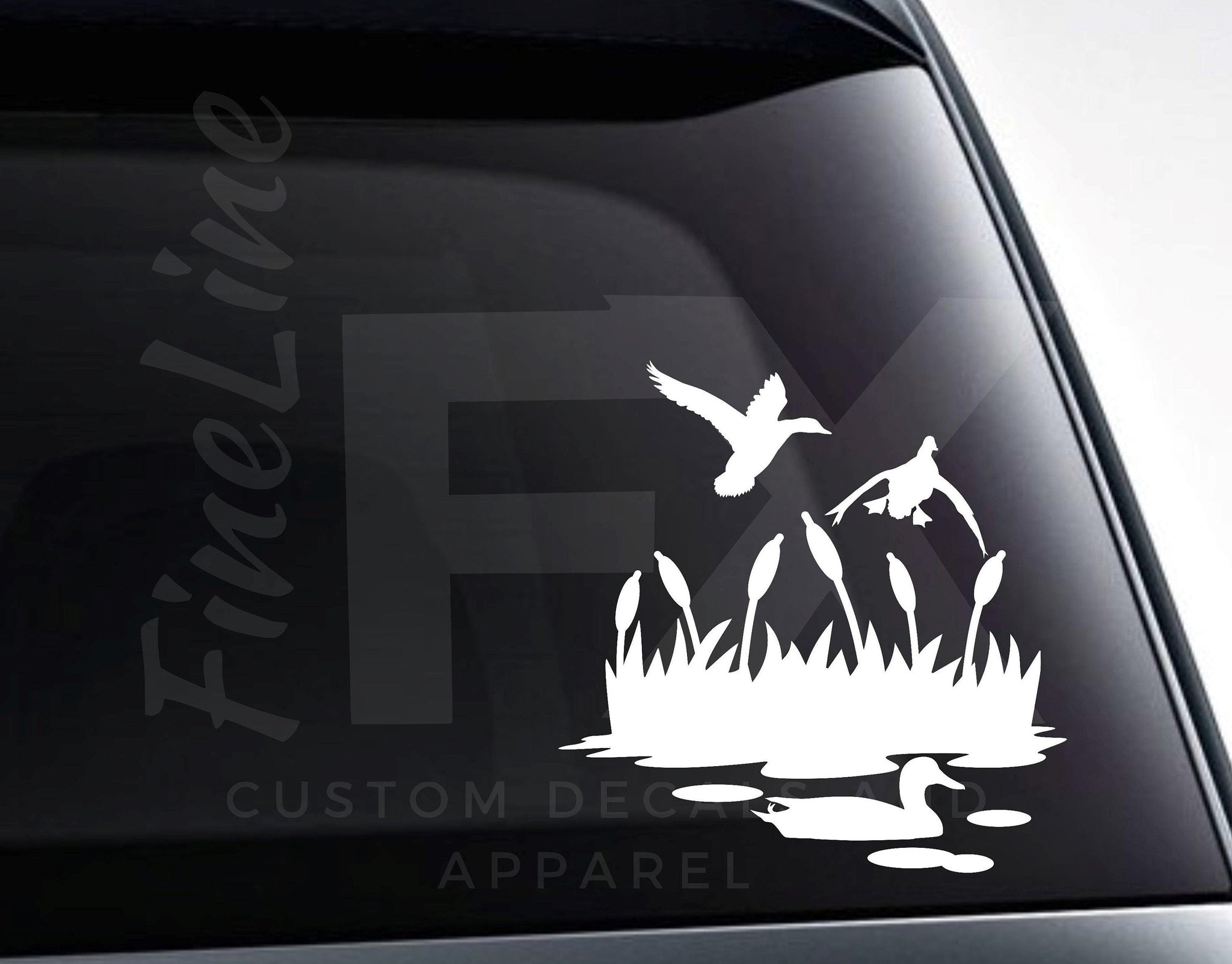 Ducks Mallards Pond Grass Duck Pond Vinyl Decal Sticker