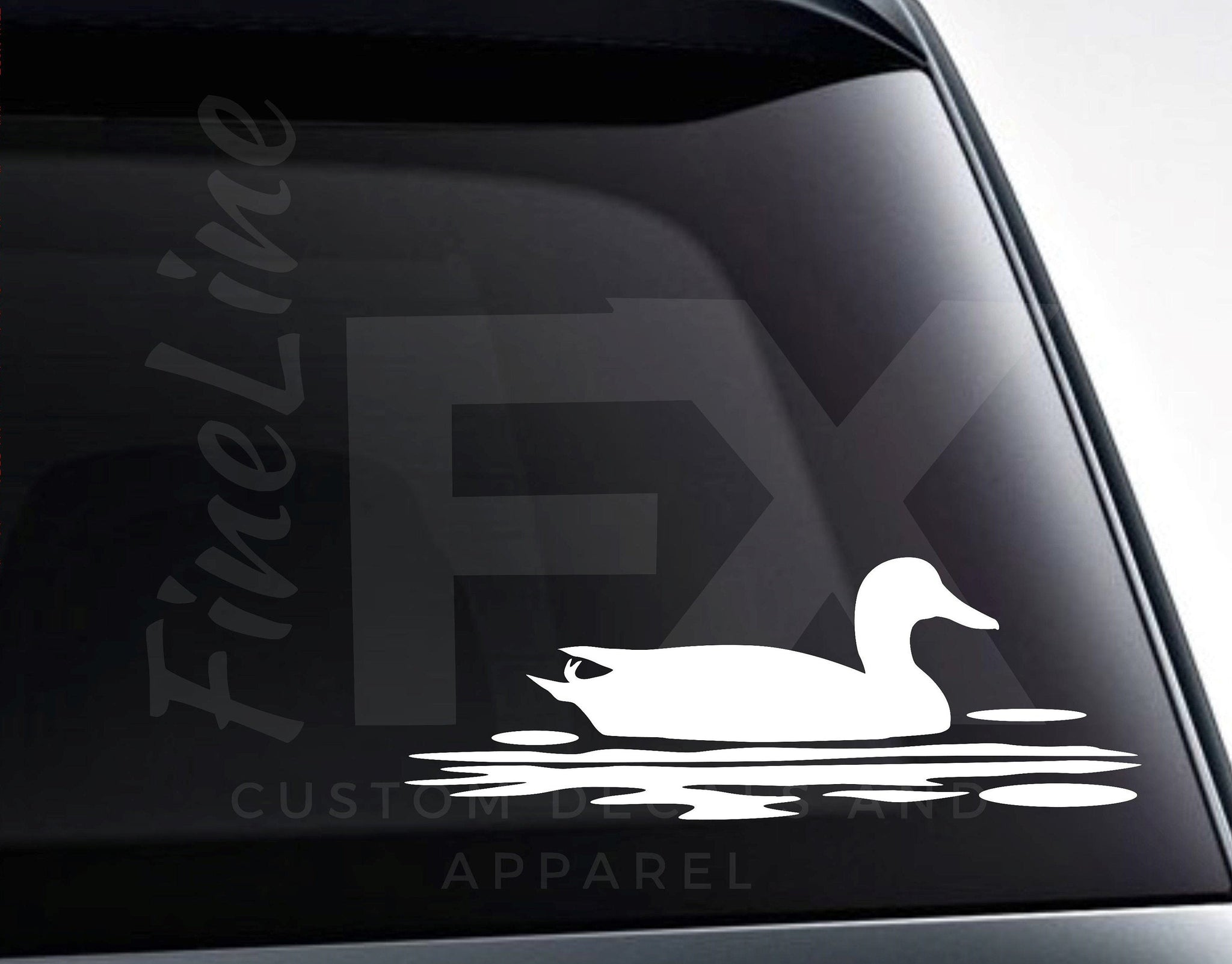 Duck on Pond Vinyl Decal Sticker