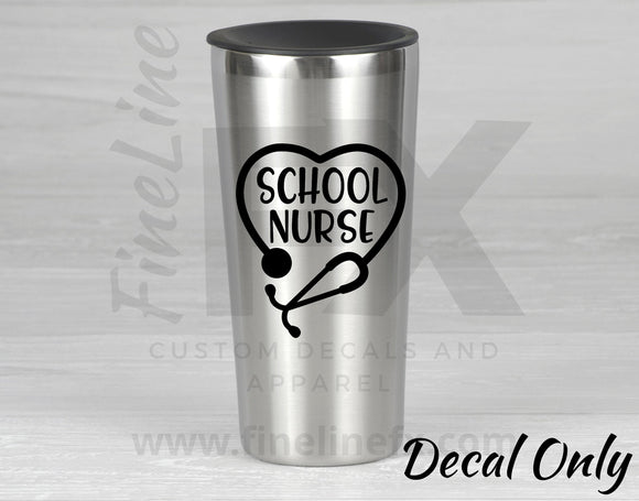 School Nurse Stethoscope Vinyl Decal Sticker - FineLineFX
