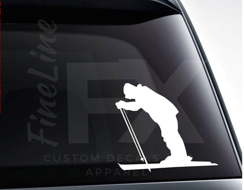 Snow Skiing Silhouette Vinyl Decal Sticker