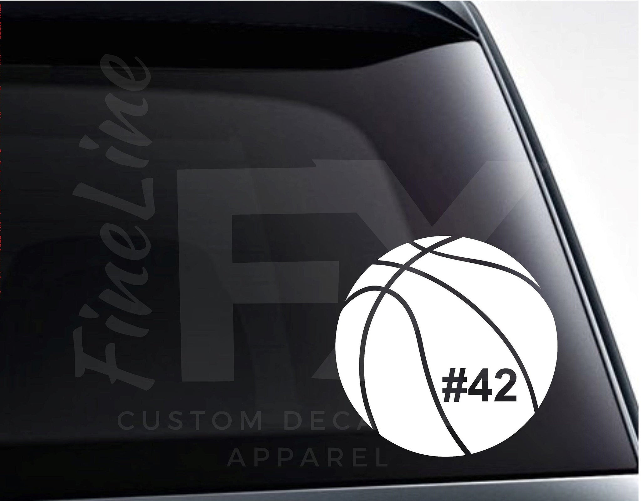 Basketball Decal, Basketball with Custom Jersey Number Vinyl Decal Sticker