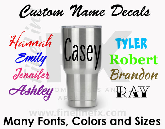 Custom Name Decals, Name Stickers, Die Cut Vinyl Lettering, Vinyl Name Decal Stickers, Many Fonts Colors and Sizes - FineLineFX