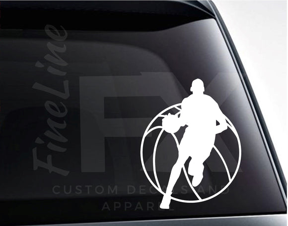 Basketball Player Silhouette Basketball Vinyl Decal Sticker - FineLineFX