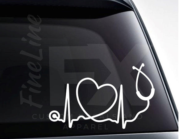 Heartbeat Heart Stethoscope Vinyl Decal Sticker - FineLineFX