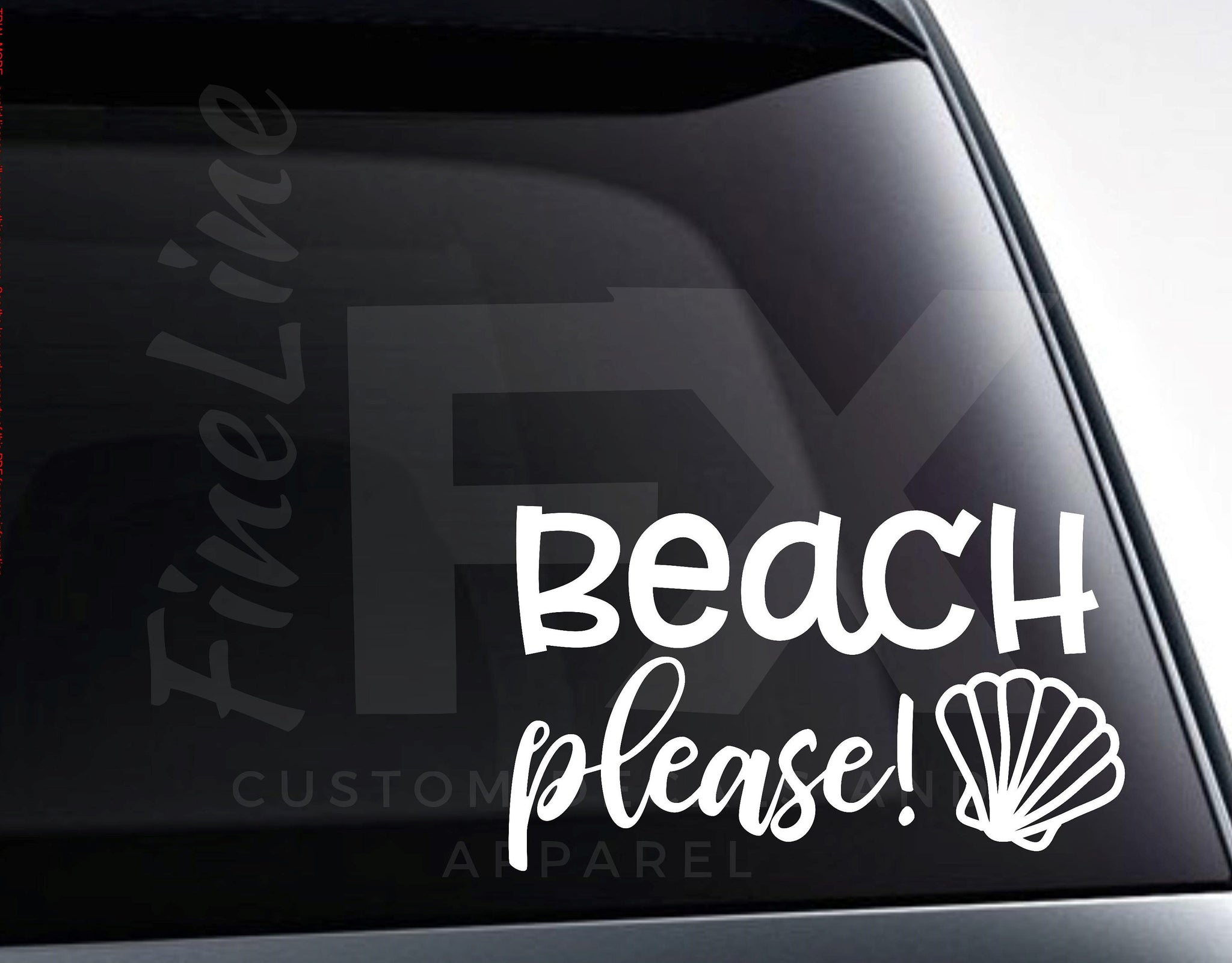 Beach Please Seashell Vinyl Decal Sticker
