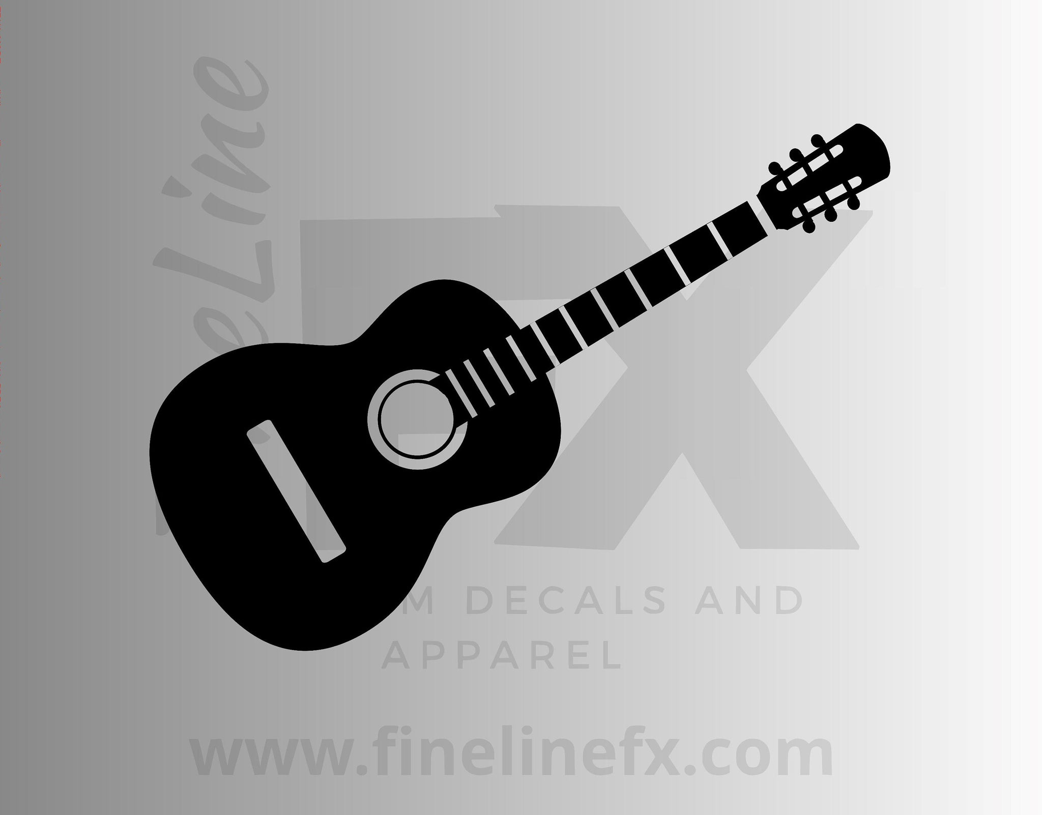 Acoustic Guitar Die Cut Vinyl Decal Sticker