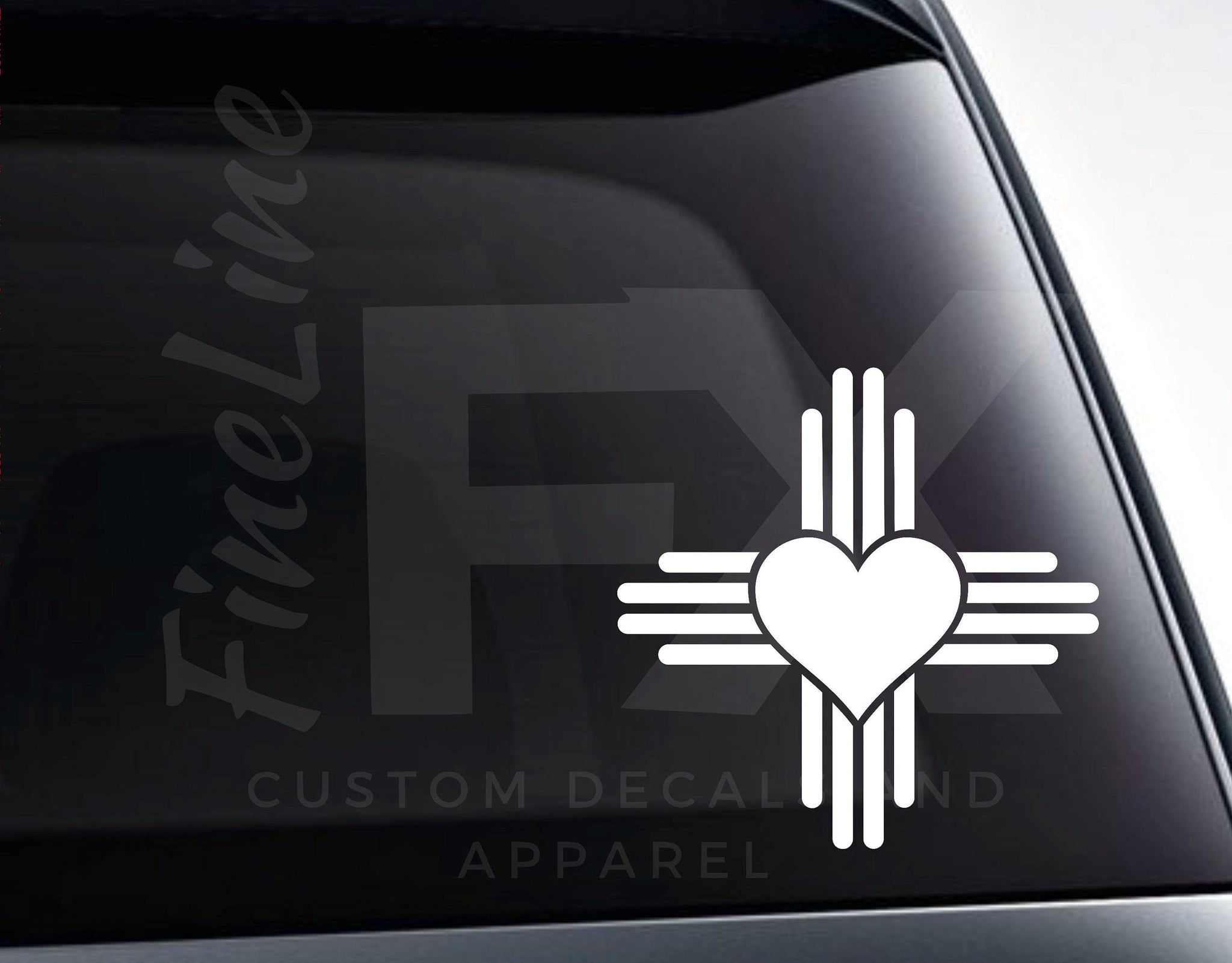 New Mexico Zia Heart, Love New Mexico Vinyl Decal Sticker