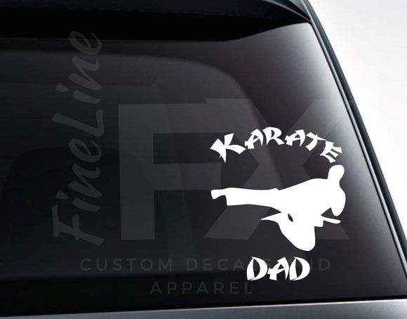 Karate Dad, Martial Arts Karate Kick Vinyl Decal Sticker - FineLineFX