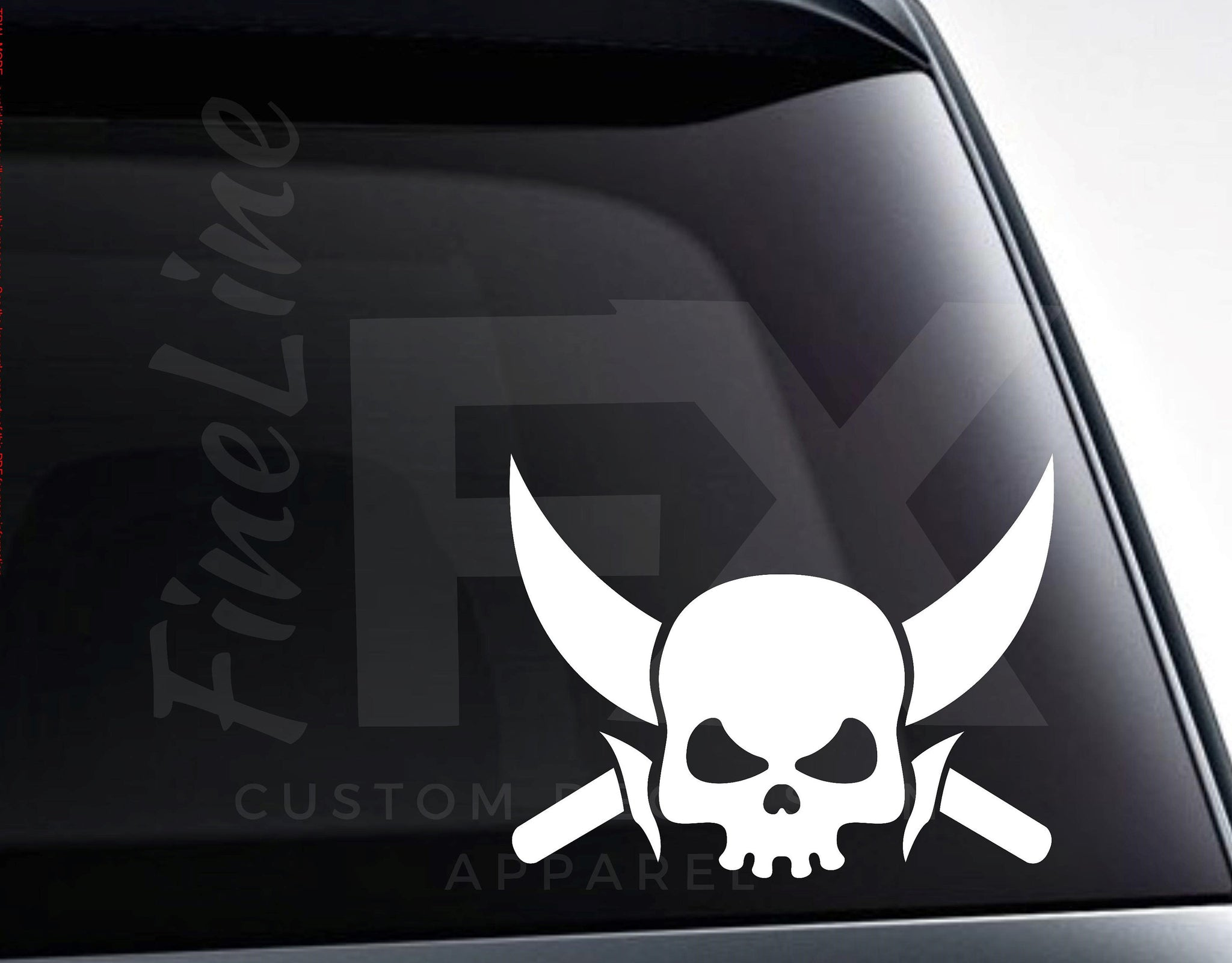 Skull With Crossed Swords Vinyl Decal Sticker
