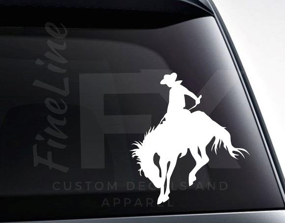 Rodeo Cowboy Riding Bronco Vinyl Decal Sticker - FineLineFX