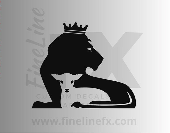 Lion And Lamb Vinyl Decal Sticker / Christian Religious Symbol Decal For Cars, Laptops, Tumblers and More - FineLineFX