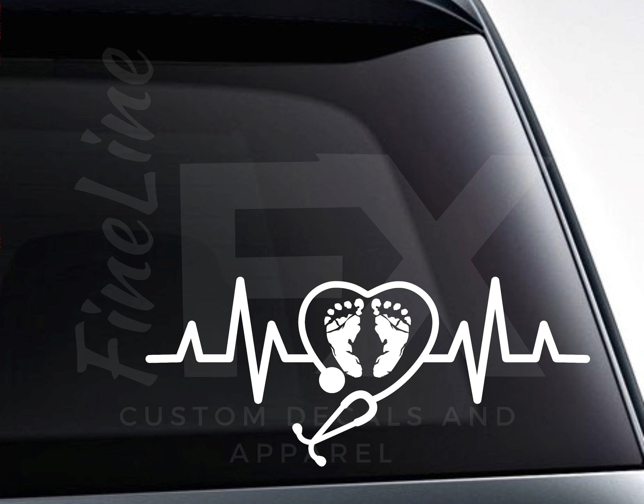 OB Nurse Stethoscope Obstetrician Baby Footprints Heartbeat Vinyl Decal Sticker