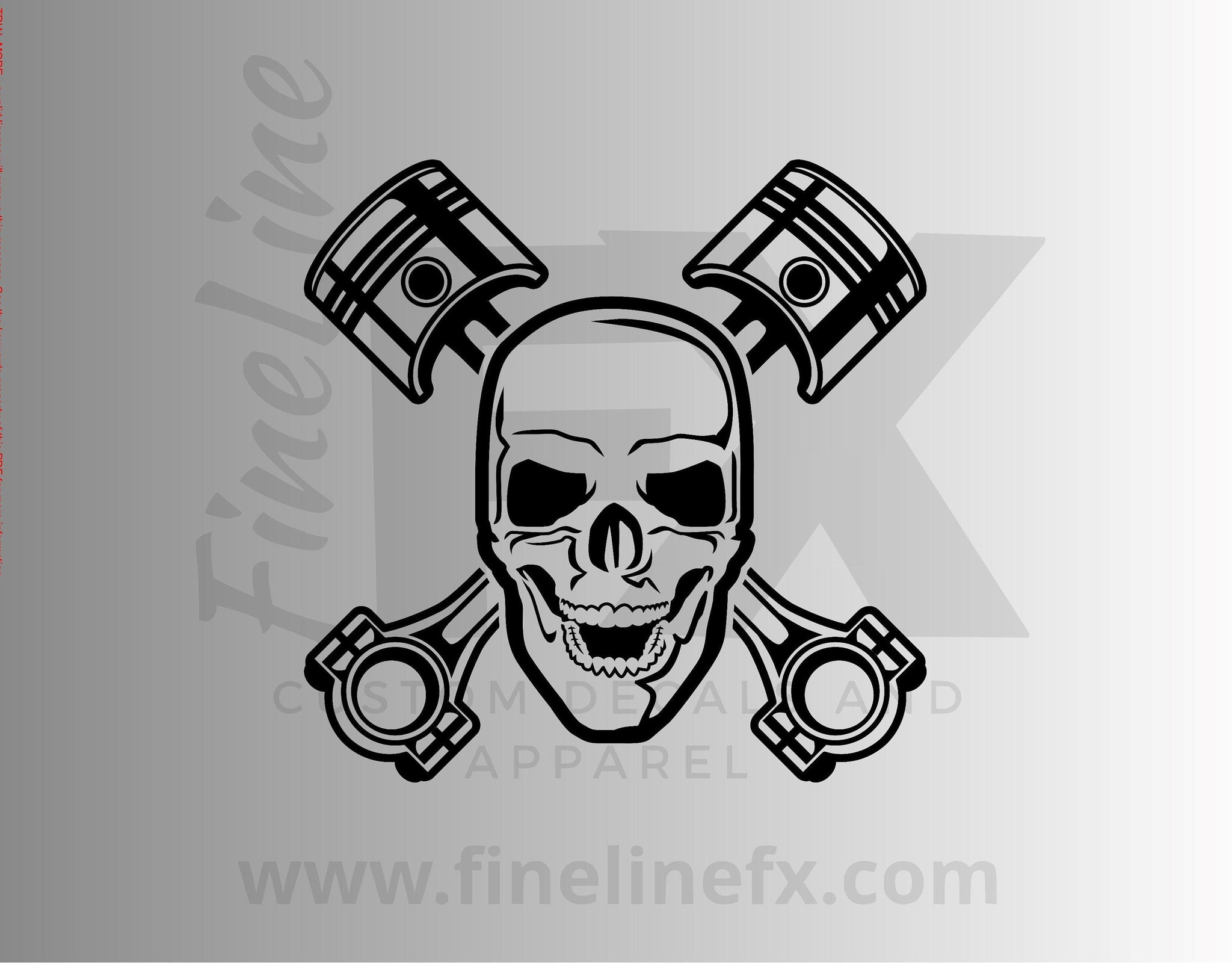 Mechanic Skull Crossed Engine Pistons Vinyl Decal Sticker