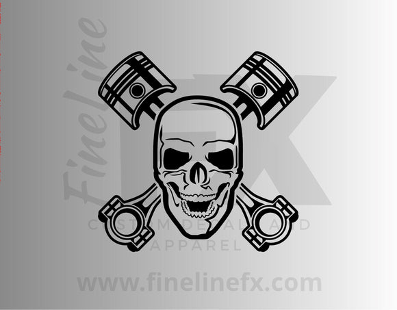 Mechanic Skull Crossed Engine Pistons Vinyl Decal Sticker - FineLineFX