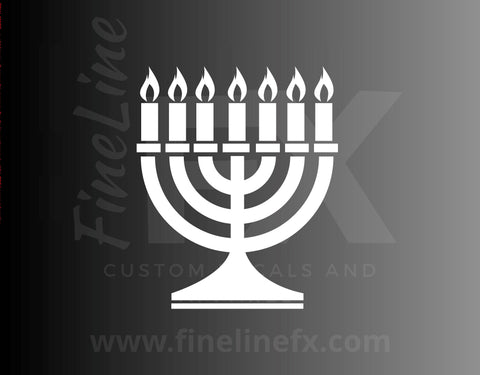 Jewish Chanukah (Hanukkah) Menorah Candles Vinyl Decal Sticker