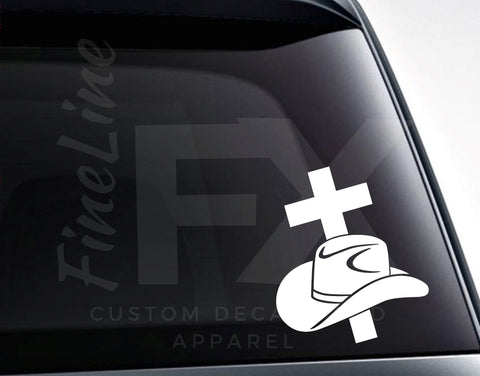 Cowboy Hat And Cross Vinyl Decal Sticker