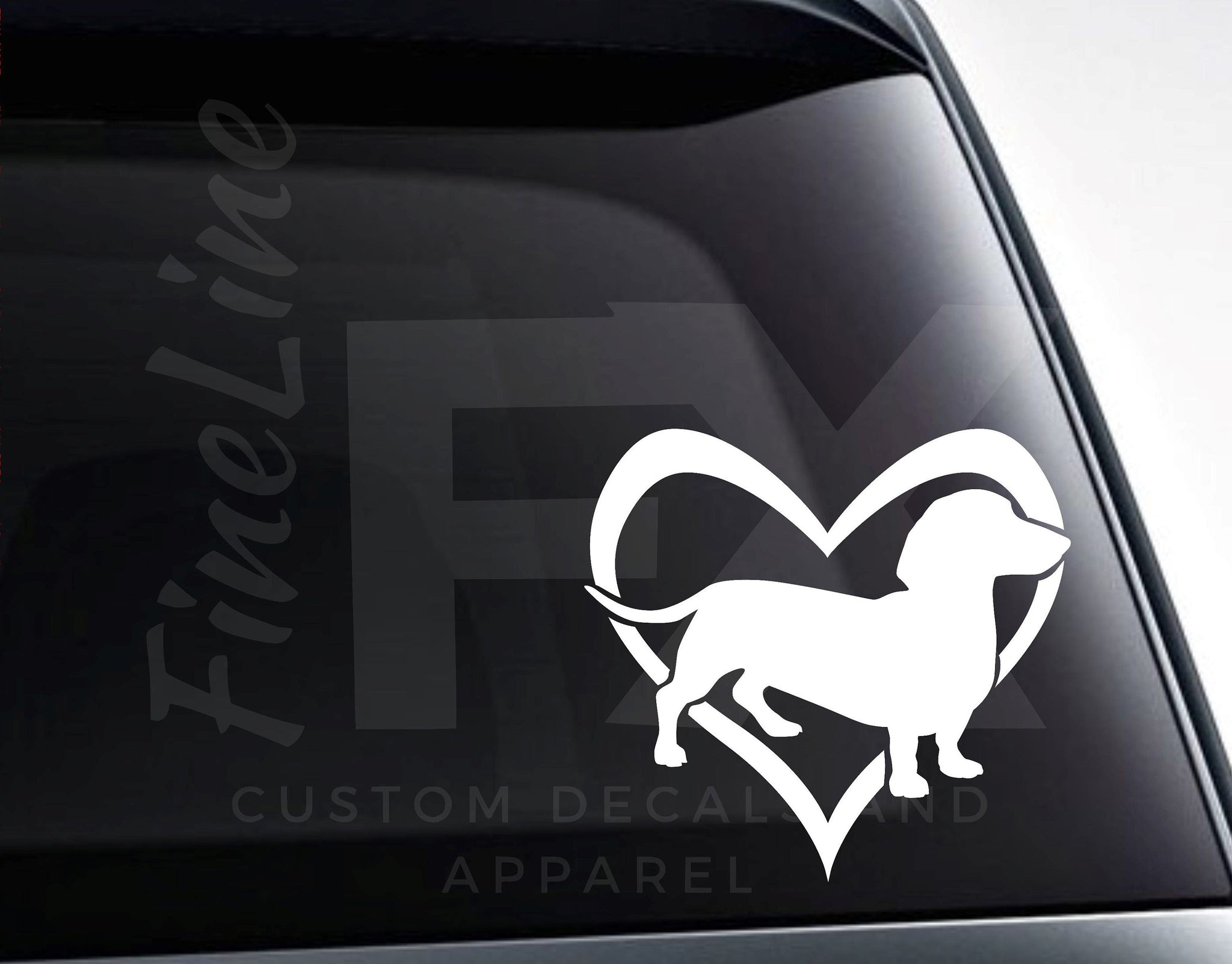 Dachshund Wiener Dog Heart Vinyl Decal Sticker