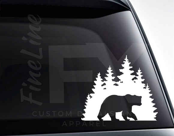Bear In The Forest Vinyl Decal Sticker - FineLineFX