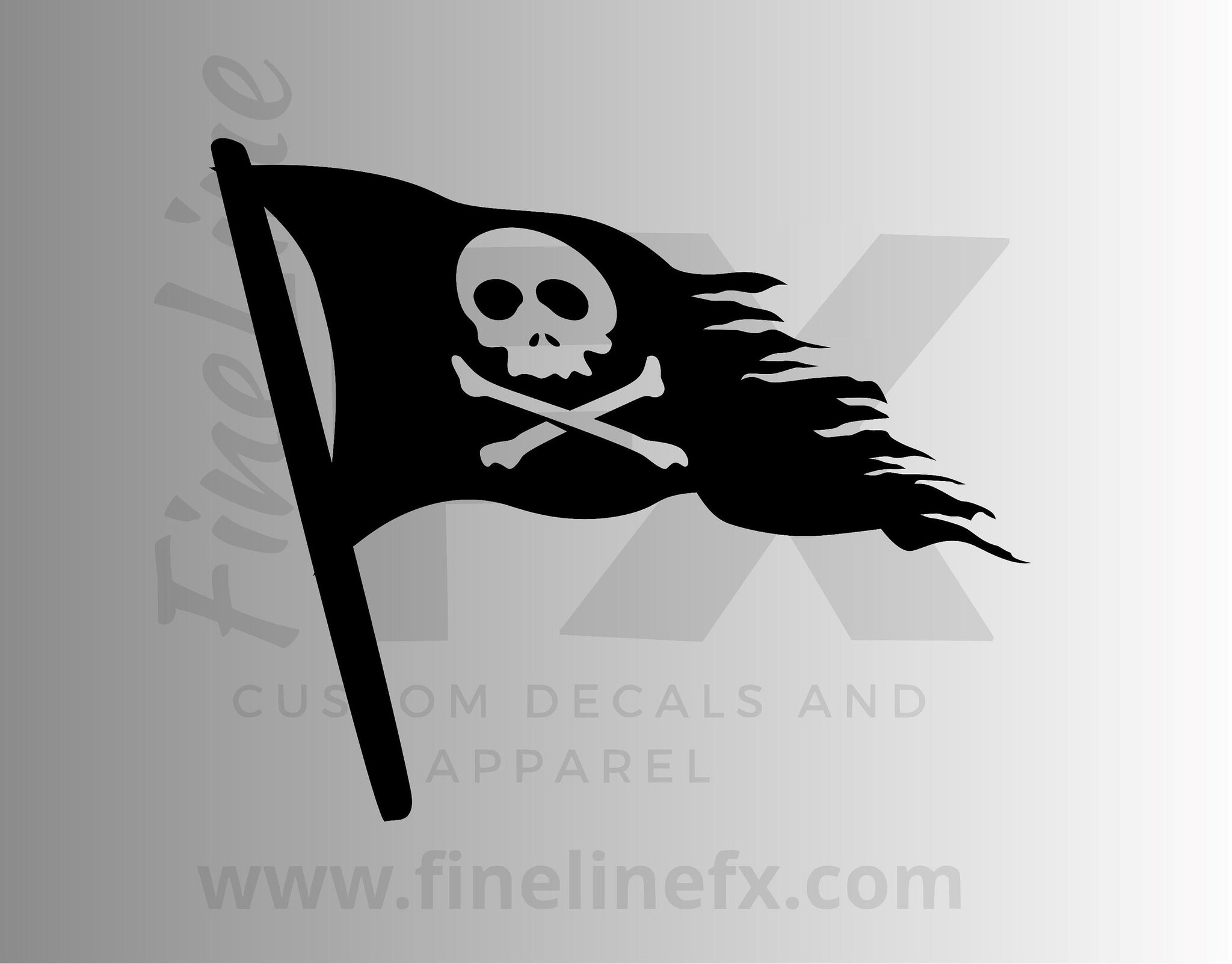 Distressed Pirate Flag Skull and Crossbones Vinyl Decal Sticker