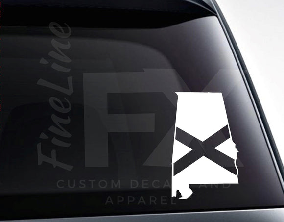 Alabama Map State Flag Vinyl Decal Sticker - FineLineFX