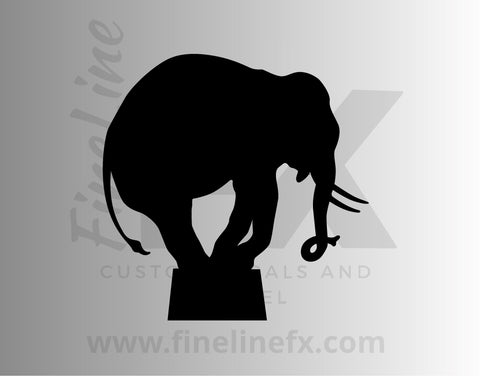Circus Elephant Silhouette Vinyl Decal Sticker