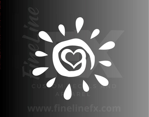 Sun Symbol With A Heart Vinyl Decal Sticker / Decal For Cars, Laptops, Tumblers and More