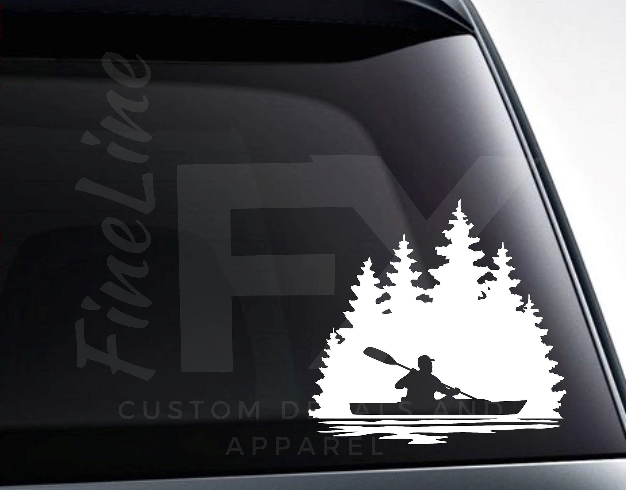 Man Kayaking Lake Nature Scenery Vinyl Decal Sticker