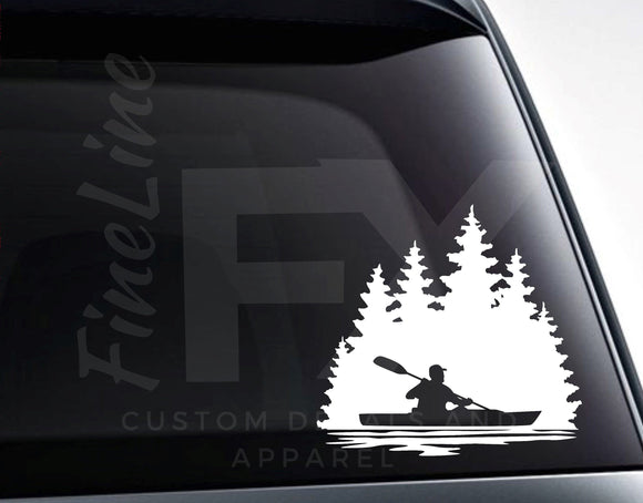 Man Kayaking Lake Nature Scenery Vinyl Decal Sticker - FineLineFX