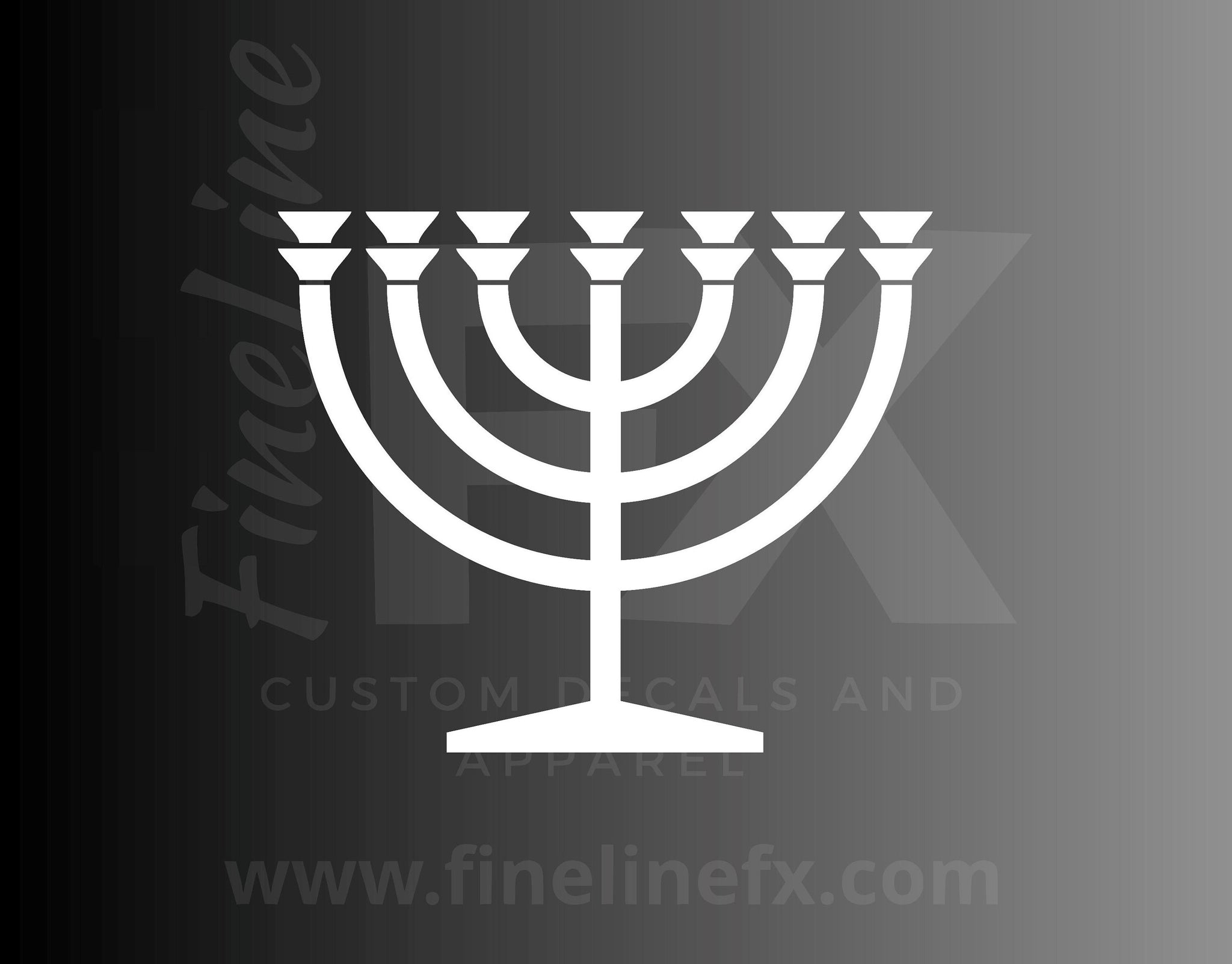 Jewish Chanukah (Hanukkah) Menorah Vinyl Decal Sticker