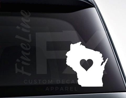 Wisconsin With A Heart Vinyl Decal Sticker / Love Wisconsin