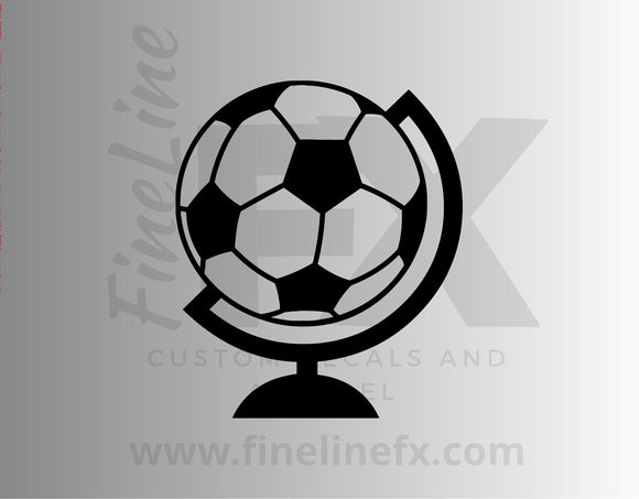Soccer Ball Futbol World Globe Die Cut Vinyl Decal Sticker - FineLineFX