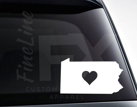 Pennsylvania With A Heart Vinyl Decal Sticker