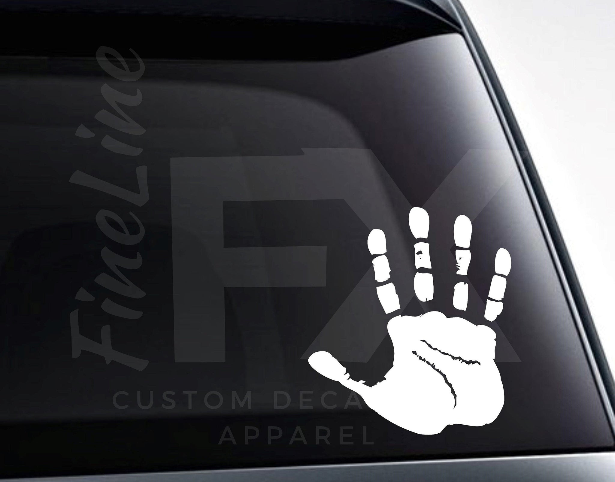 Handprint Silhouette, Waving Hand Vinyl Decal Sticker
