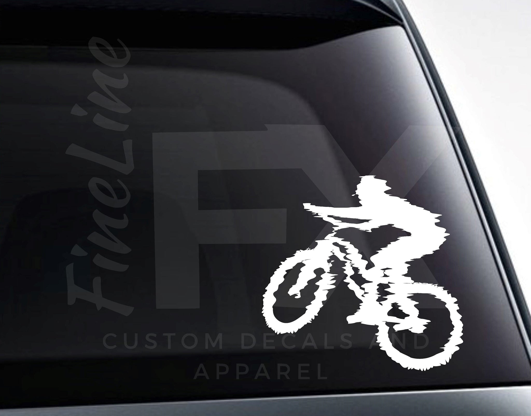 Mountain Biking. Mountain Biker Vinyl Decal Sticker
