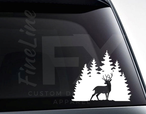 Buck Deer In Woods Die Cut Vinyl Decal Sticker - FineLineFX