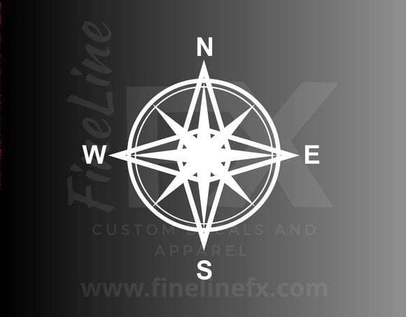 Compass Decal, Compass Rose Directions Vinyl Decal Sticker - FineLineFX