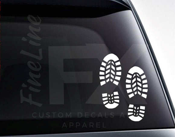 Hiker Boot Prints, Outdoors Trail Hiking Vinyl Decal Sticker - FineLineFX