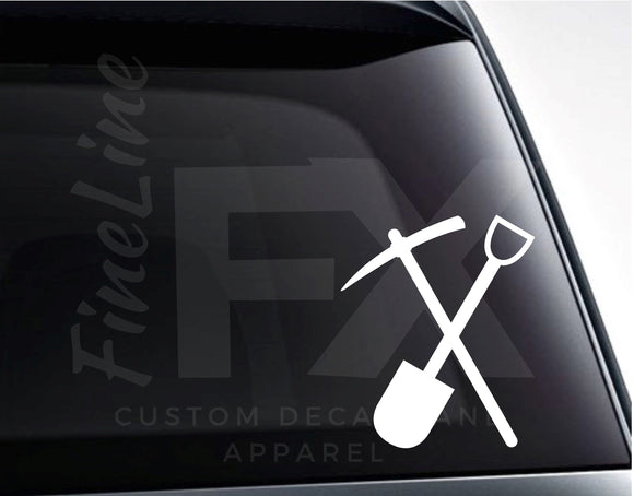 Crossed Shovel And Pick Axe Miner's Logo Vinyl Decal Sticker - FineLineFX