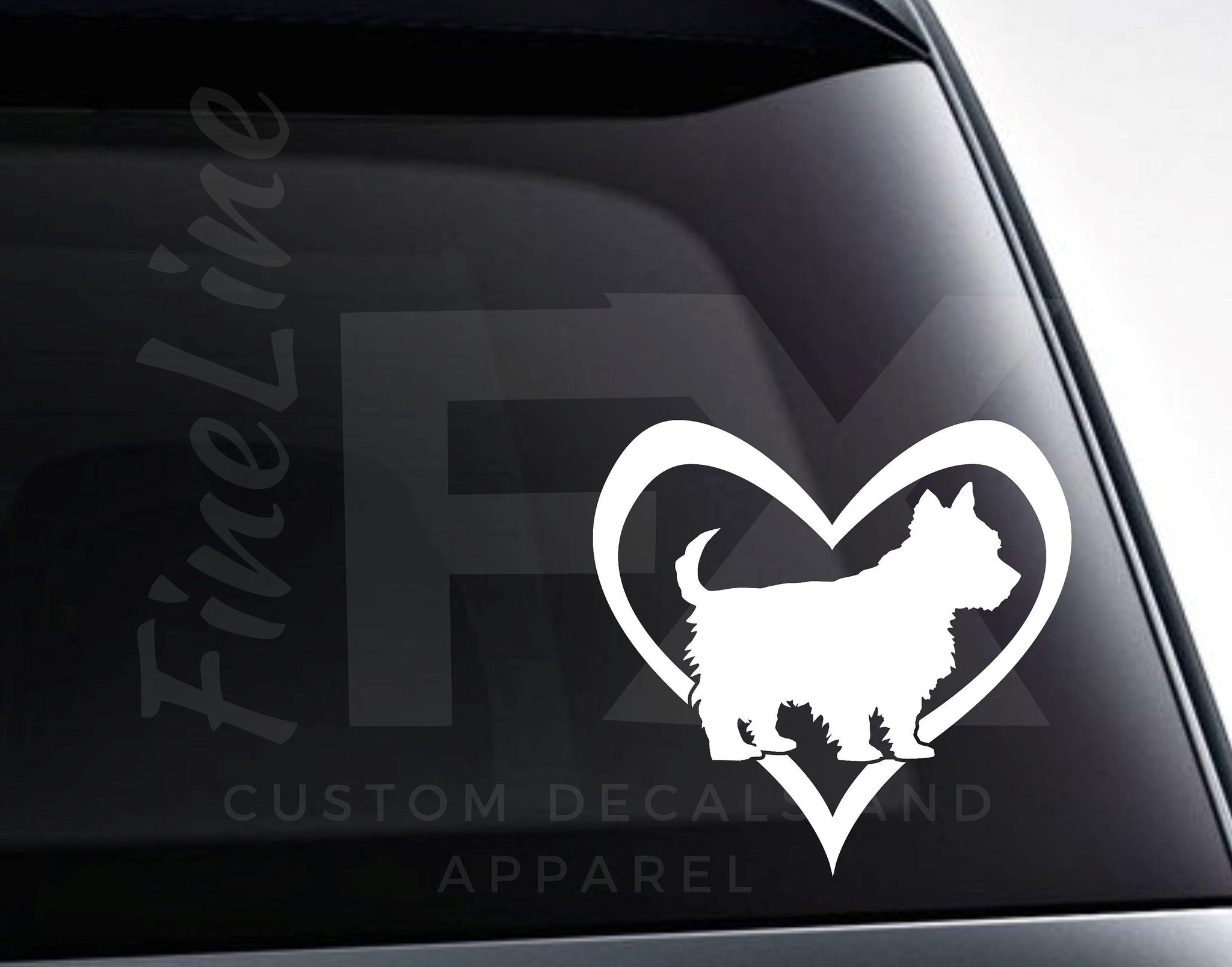 Yorkie Dog In A Heart Vinyl Decal Sticker