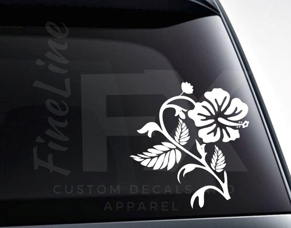 Hibiscus Decal, Hibiscus Flower Tropical Flower With Leaves Vinyl Decal Sticker - FineLineFX
