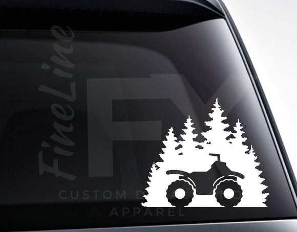4 Wheeler ATV Woods Forest Four Wheeling Vinyl Decal Sticker - FineLineFX