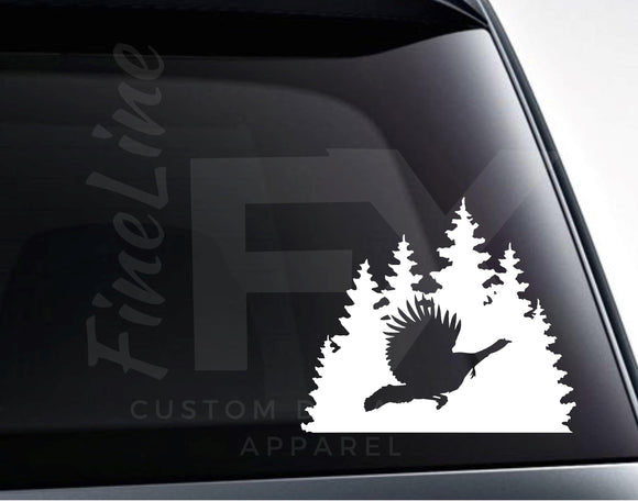 Wild Turkey Flying On A Woods Background Vinyl Decal Sticker - FineLineFX